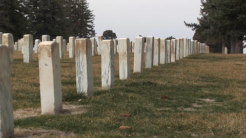A striking rear view of headstones at Arlington National... Stock Video Footage