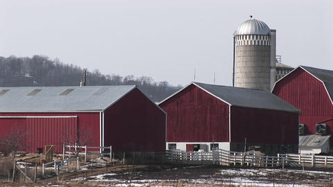 The camera pans an American farm with red barns and silos Footage