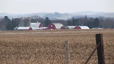 A farming landscape in winter after the crops have been... Stock Video Footage