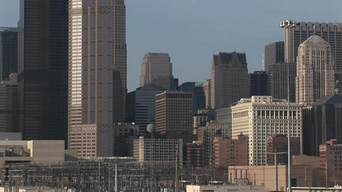A panoramic look at the Chicago skyline that includes both new and vintage buildings of various elev Footage