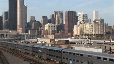 A passenger train heads out of Chicago Footage
