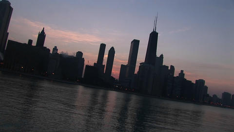Tilt shot of the Chicago skyline from Lake Michigan at... Stock Video Footage