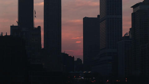A look at the Chicago skyline during the golden hour from... Stock Video Footage