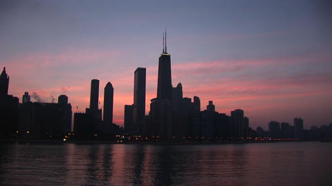 Long-shot of Chicago skyline Footage