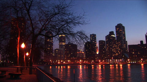 Skyline reflections of Chicago shimmer in the water of Lake Michigan Footage