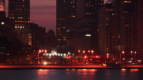Chicago's Lakeshore Drive is festive and busy during the golden-hour Footage