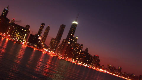 Abstract shot of the Chicago skyline at night Stock Video Footage