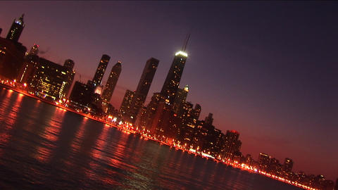 Abstract shot of the Chicago skyline at night Footage