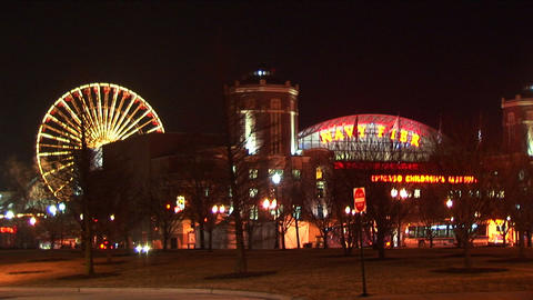 Chicago's Navy Pier and the Children's Museum light up... Stock Video Footage