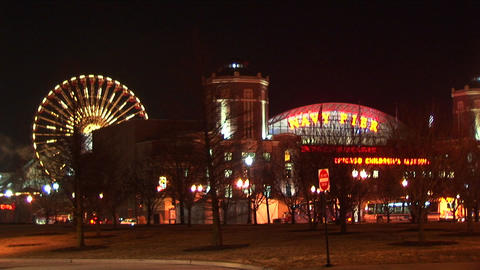 Chicago's Navy Pier and the Children's Museum light up the night Footage