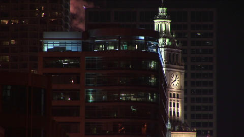 The clock tower of the famed Wrigley Building in Chicago... Stock Video Footage