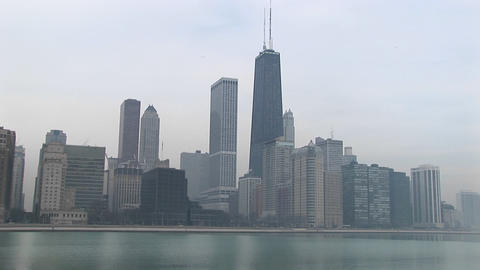 Medium shot of the Chicago skyline and lake Michigan Stock Video Footage