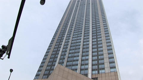 The camera pans up for a worms-eye view of a towering... Stock Video Footage