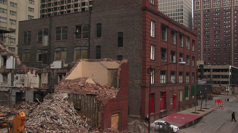 Medium-shot of a razed building Stock Video Footage