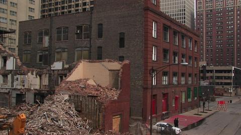 Medium-shot of a razed building Footage