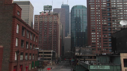 "The Inn of Chicago"" sign stands out in this look at downtown Chicago buildings Footage"