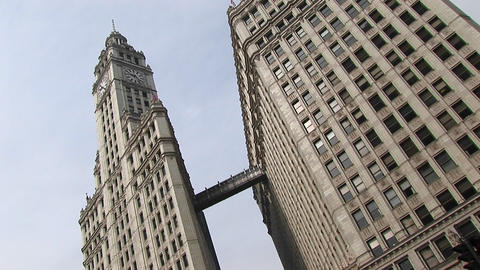 Chicago's landmark Wrigley Building towers are connected by a walkway Footage