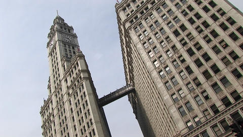 Chicago's landmark Wrigley Building towers are connected... Stock Video Footage