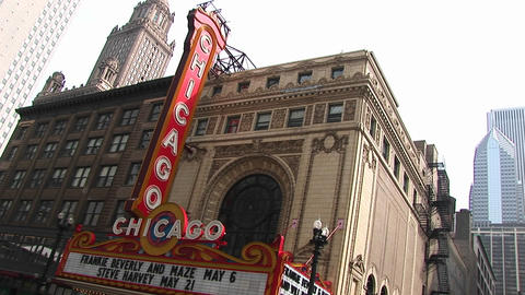 Tilt shot of the exterior of the historic Chicago Theater in downtown Chicago, Illinois Footage