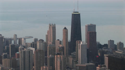 A cloudy day for an aerial shot of Chicago's skyscrapers Footage