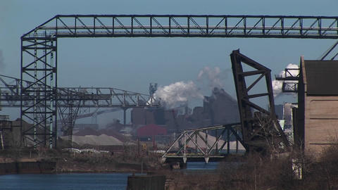 A look at industrial buildings, equipment, pipeline and... Stock Video Footage