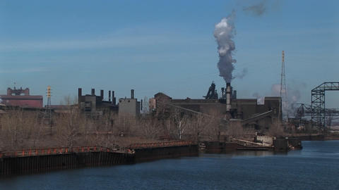 Power plants and other industrial buildings are located... Stock Video Footage