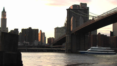 A look at the Brooklyn Bridge connecting Brooklyn with... Stock Video Footage