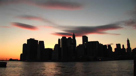 Scenic silhouette of New York skyline at the golden-hour Stock Video Footage