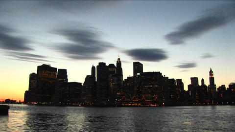 Long shot of the New York skyline Stock Video Footage