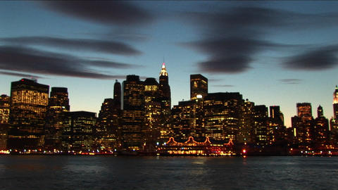 Buildings, lights, South Street Seaport, the Empire State Building are depicted with special effects Footage