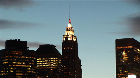 Buildings, lights, South Street Seaport, the Empire State... Stock Video Footage