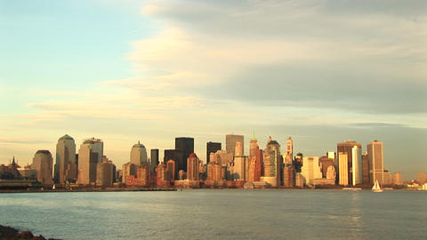 A pastel watercolor New York skyline on a partially sunny day Footage