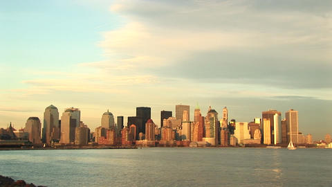 A pastel watercolor New York skyline on a partially sunny... Stock Video Footage