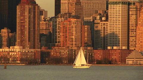 sailboats pass each other on a bright sailing day with... Stock Video Footage