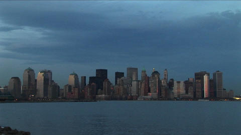 The New York skyline surrounded by hues of blue Footage
