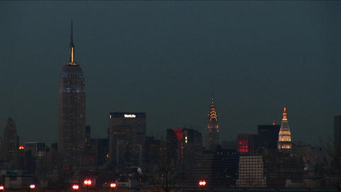 An after-dark shot of New York's landmark buildings Footage