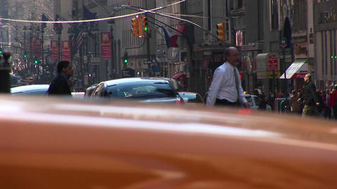 Footage captures the hustle and bustle of downtown Manhattan Stock Video Footage
