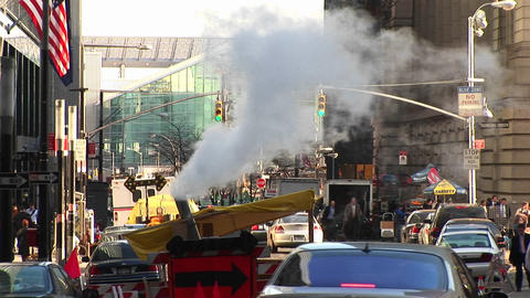 A busy street scene in New York with a city repair... Stock Video Footage