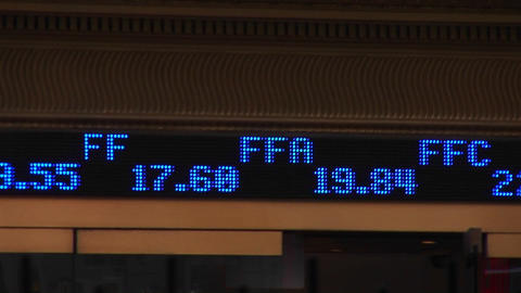 An abbreviated ticker-tape shows stock symbols and their current trading price as it flashes by Footage