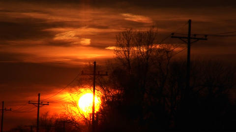 A colorful sunset with power-lines and silhouetted trees Stock Video Footage