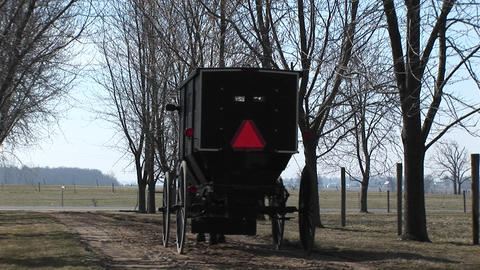 An Amish horse and buggy head toward the main road with their passengers and cautionary red triangle Footage
