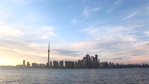 The Toronto skyline is lovely against a pastel,... Stock Video Footage