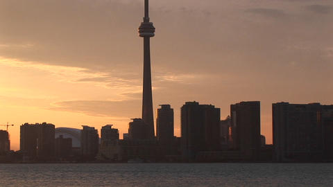 The camera pans the skyline of Toronto and ends with the... Stock Video Footage