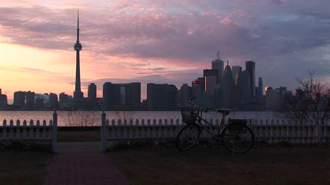 A colorful skyline from the Toronto Islands Stock Video Footage