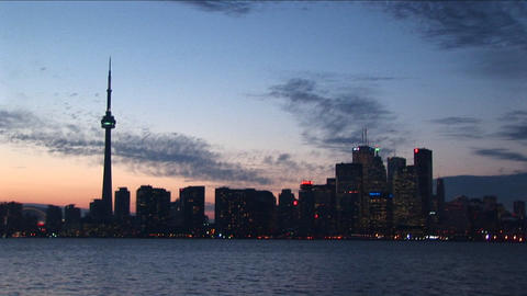 A spectacular view of the Toronto skyline at night, with... Stock Video Footage