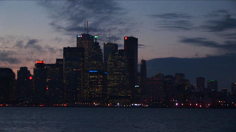 The buildings of Toronto at night, with lights Stock Video Footage