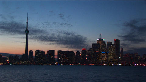 A spectacular sky during golden-hour with the CN-Tower and downtown Toronto Footage