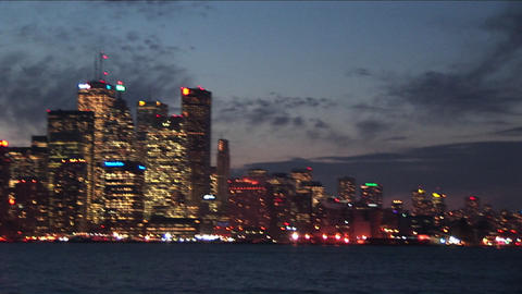 The camera pans back and forth from downtown Toronto to... Stock Video Footage