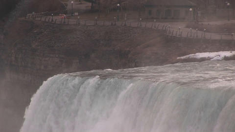 An up close look at top of Niagara Falls Stock Video Footage