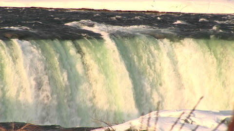 The Niagara River washes over Horseshoe Falls Footage